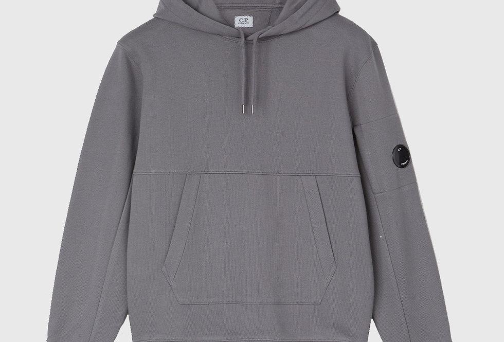 C.P. Company Diagonal Raised Fleece Garment Dyed Hoodie Grey