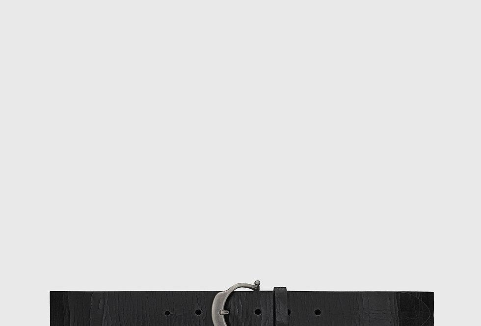 Saint Laurent Horseshoe Buckle Belt Crackled Leather
