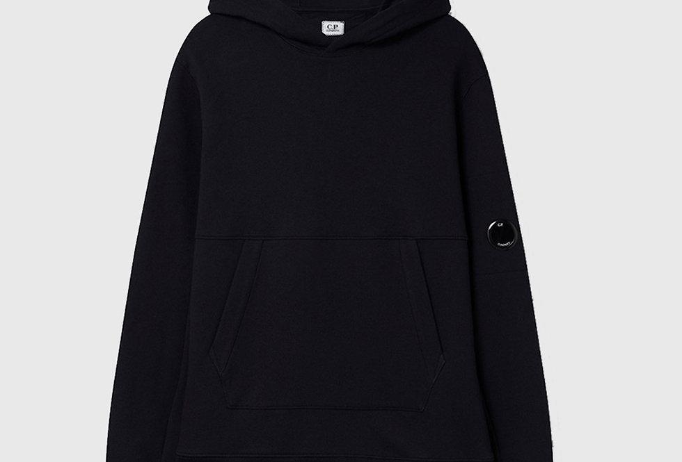 C.P. Company Diagonal Raised Fleece Garment Dyed Hoodie Total Eclipse