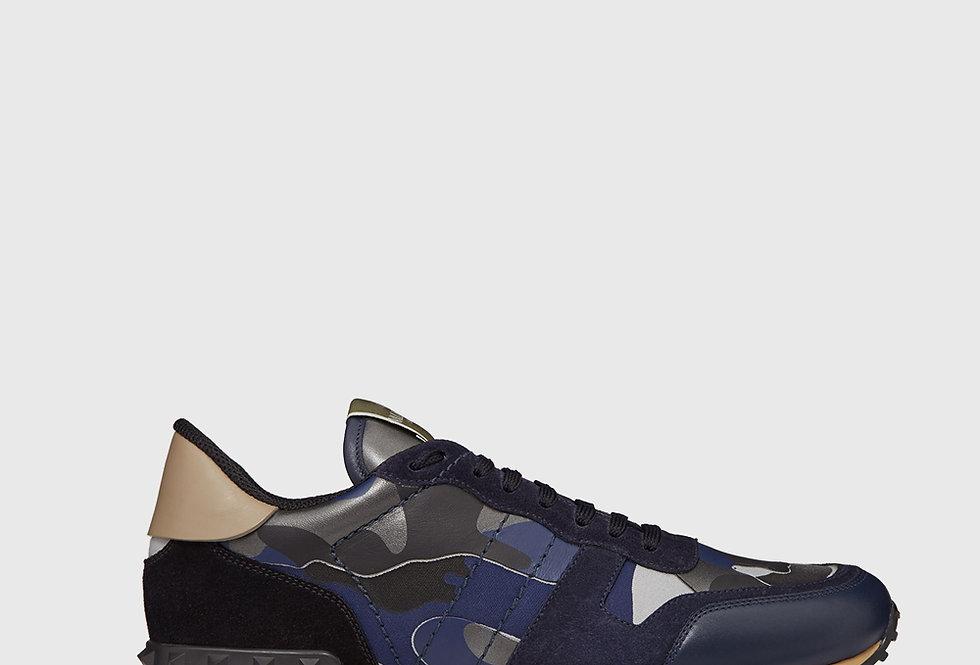 Valentino Rockrunner Camouflage Reflective Sneaker Dark Blue