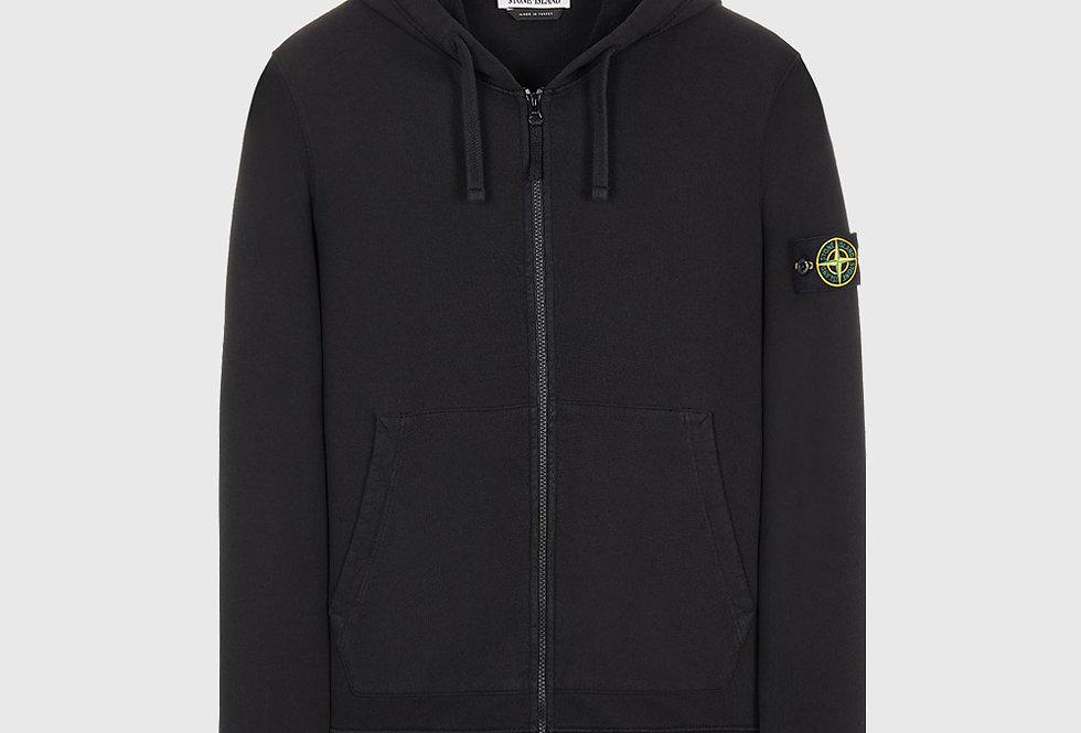 Stone Island 64220 Brushed Cotton Fleece Full Zip Sweatshirt Black