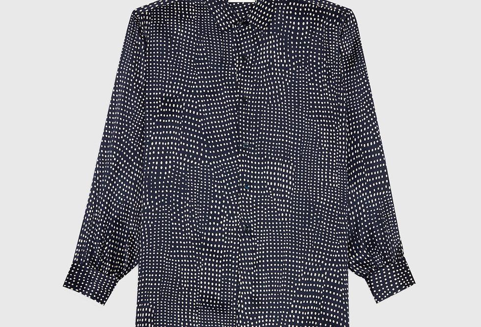 Saint Laurent Western Shirt Dotted Silk Satin