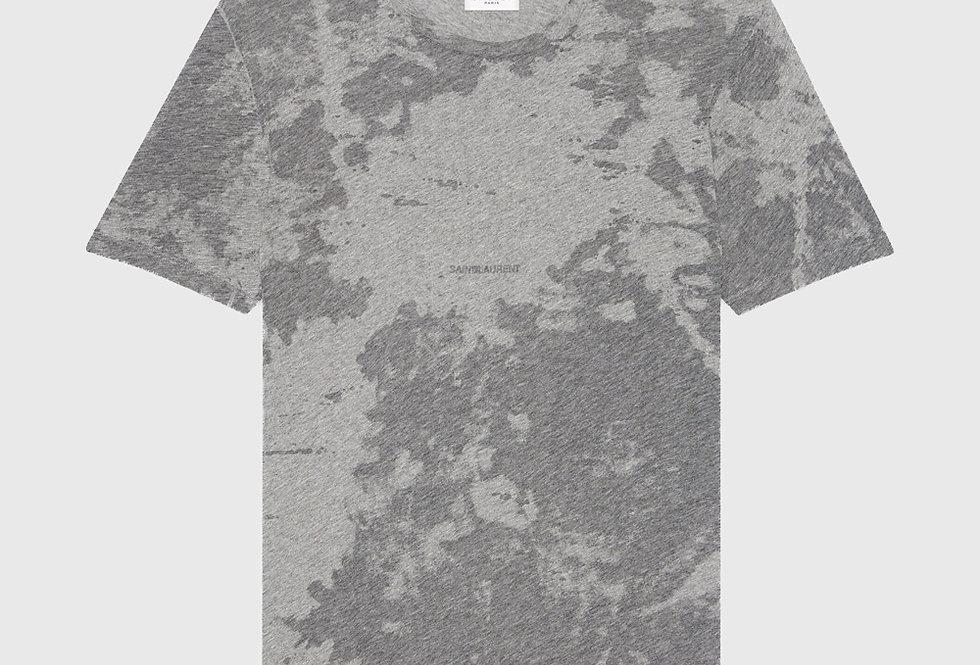Saint Laurent Logo Dévoré T-shirt Grey Rinse