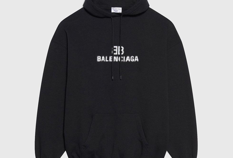 Balenciaga BB Pixel Medium Fit Hoodie Black
