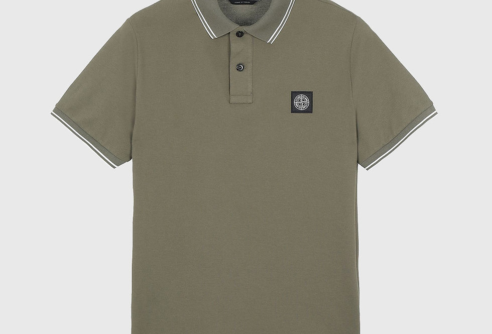 Stone Island 22S18 Stretch Pique Polo Olive Green