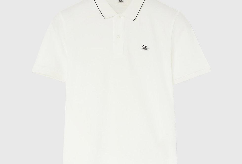 C.P. Company Stretch Piquet Logo Polo Shirt White