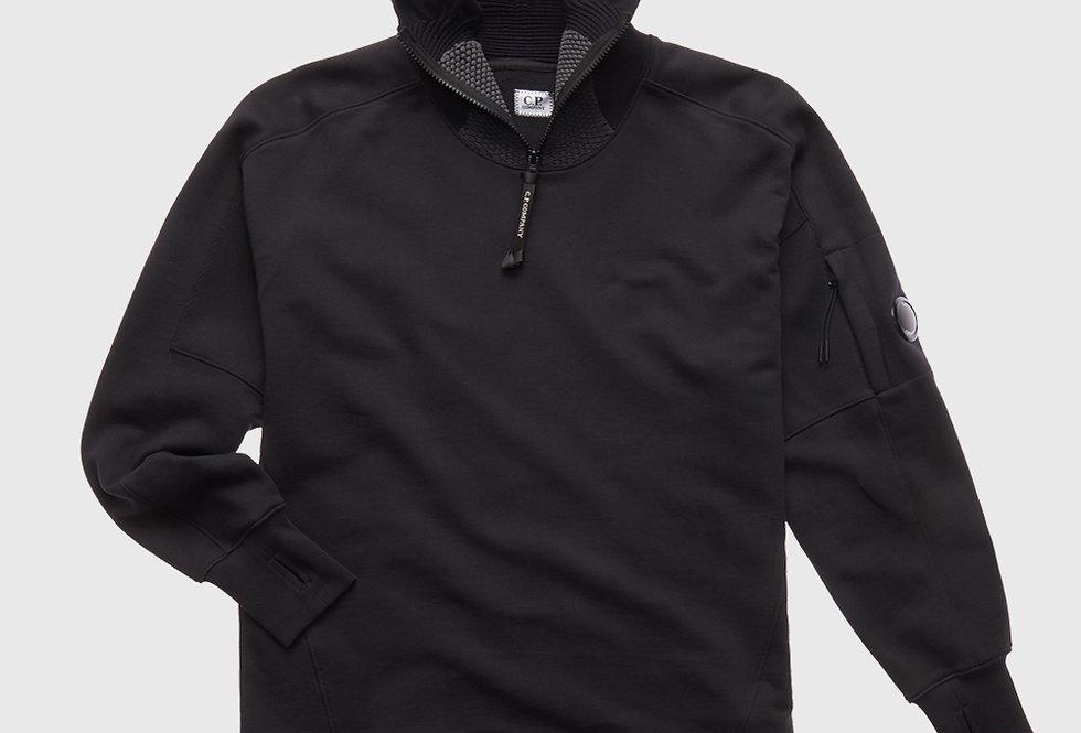 C.P. Company Zip High Neck Hoodie Urban Protection Black