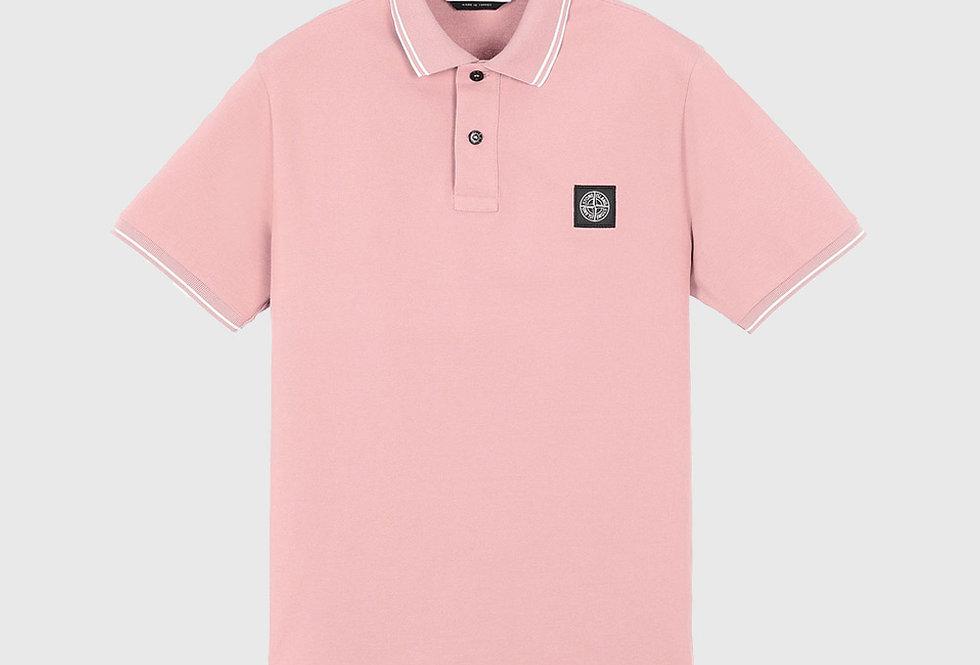 Stone Island 22S18 Stretch Pique Polo Shirt Pink Quartz
