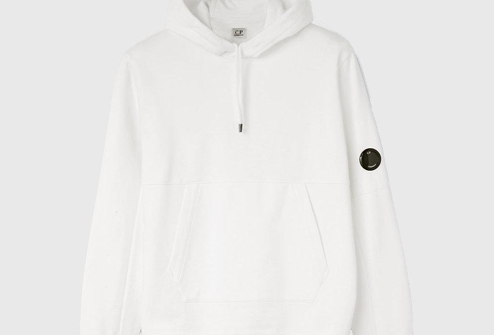 C.P. Company Diagonal Raised Fleece Garment Dyed Hoodie White