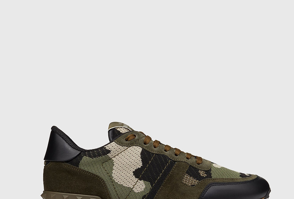 Valentino Mesh Fabric Camouflage Rockrunner Sneaker Military Green