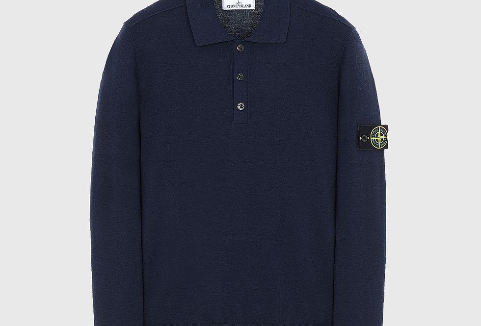 Stone Island 512A1 Wool Knitwear Polo Marine