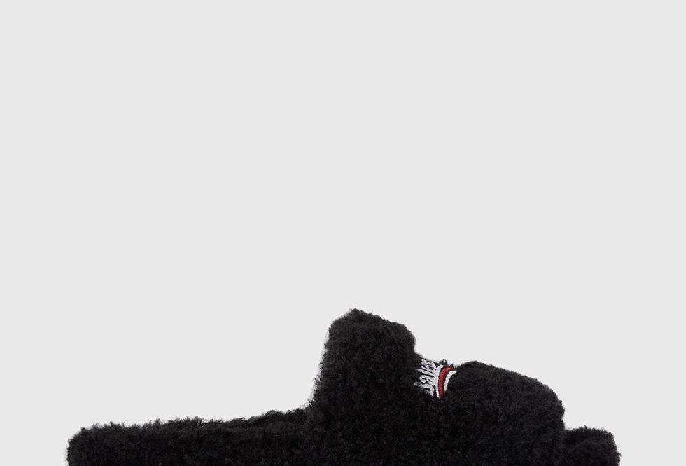 Balenciaga Furry Slide Sandal Black White Red