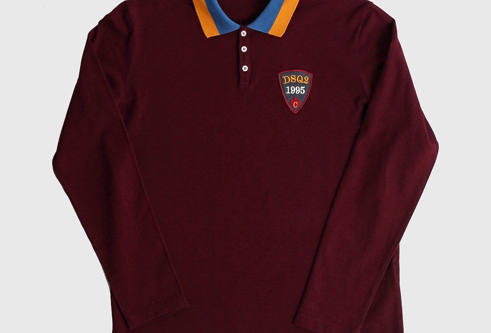 Dsquared2 Longsleeve Polo Shirt Bordeaux