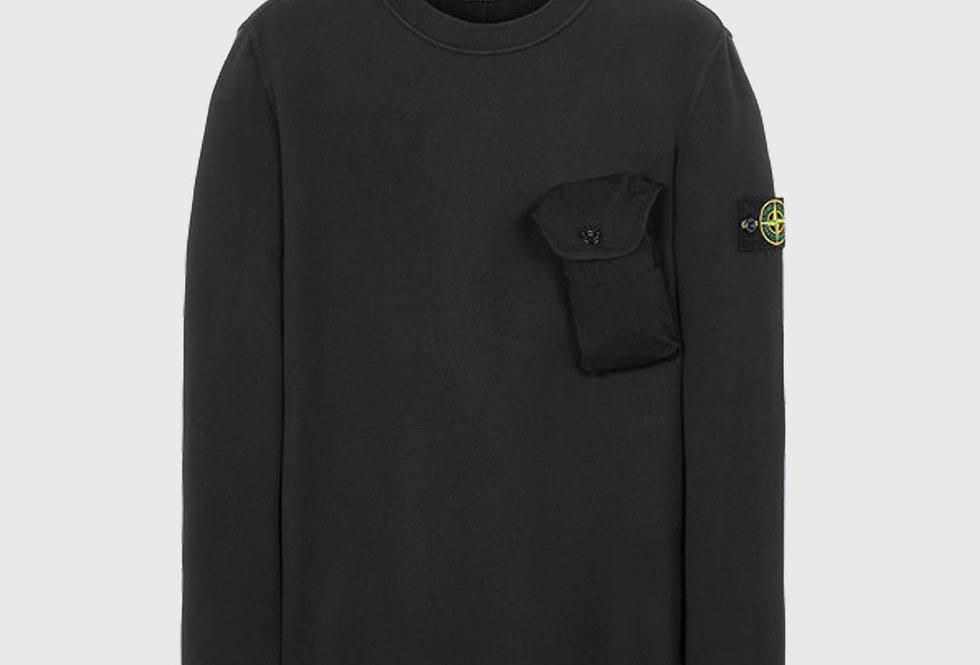 Stone Island 60419 Brushed Cotton Fleece Sweatshirt Black