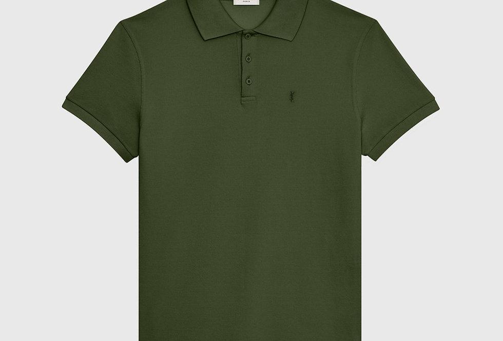 Saint Laurent Monogram Polo Shirt Khaki