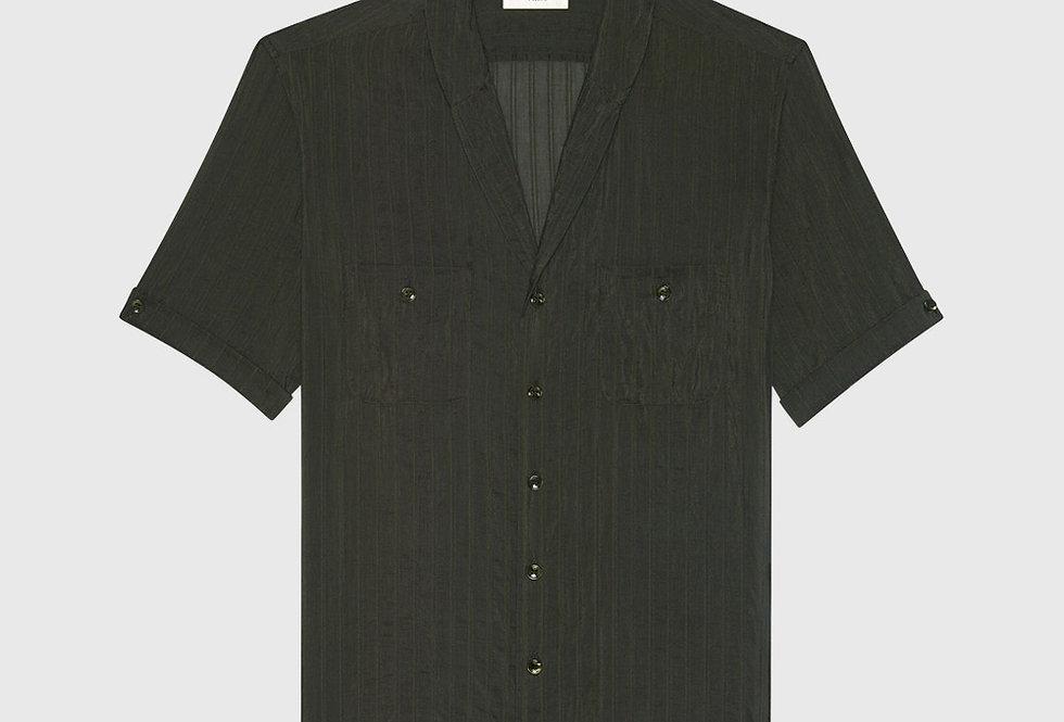 Saint Laurent Shawl-Collar Shirt Striped Khaki