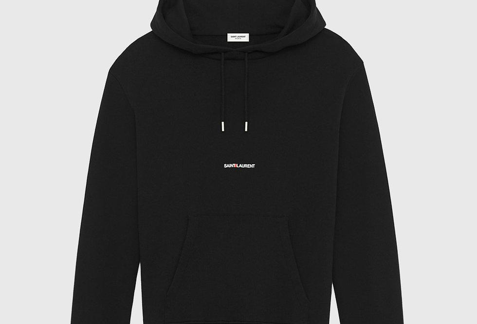 Saint Laurent Logo Hoodie Black