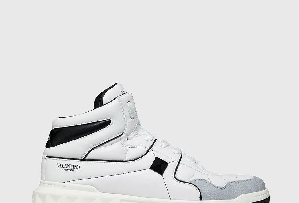 Valentino One Stud Mid-Top Calfskin Sneaker White Black