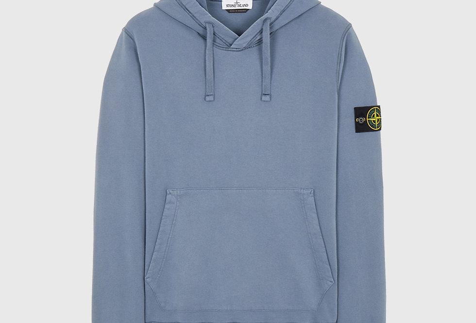Stone Island 64120 Cotton Fleece Hooded Sweatshirt Pastel Blue