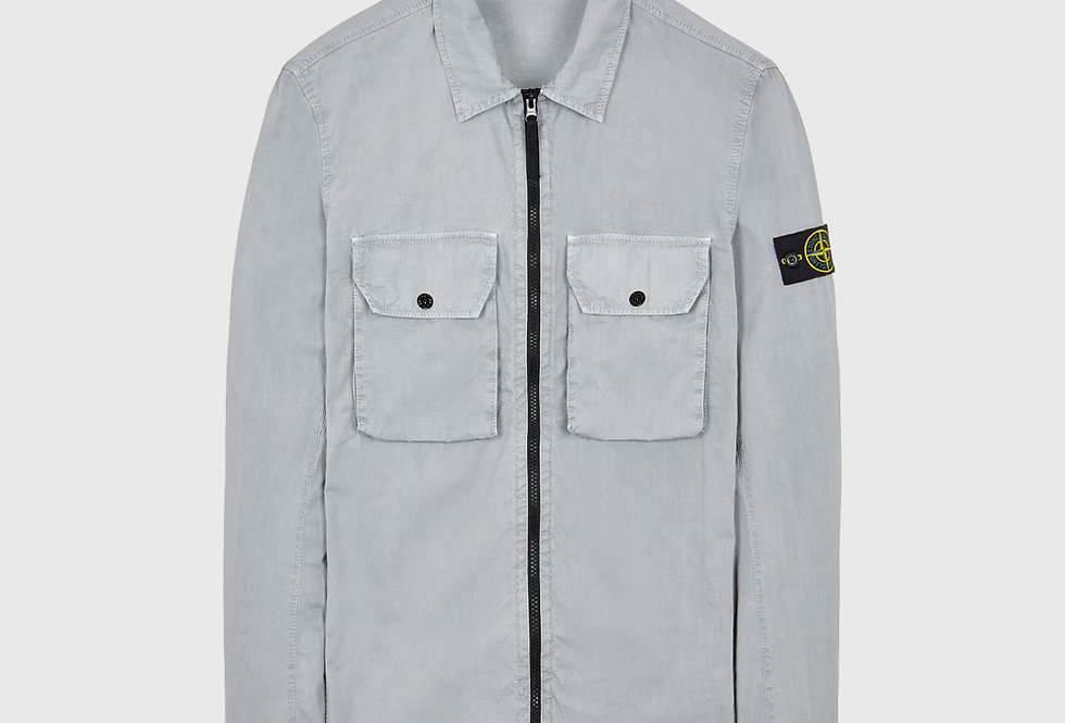 Stone Island 113WN Cotton Canvas_Old Effect Over Shirt Pearl Grey
