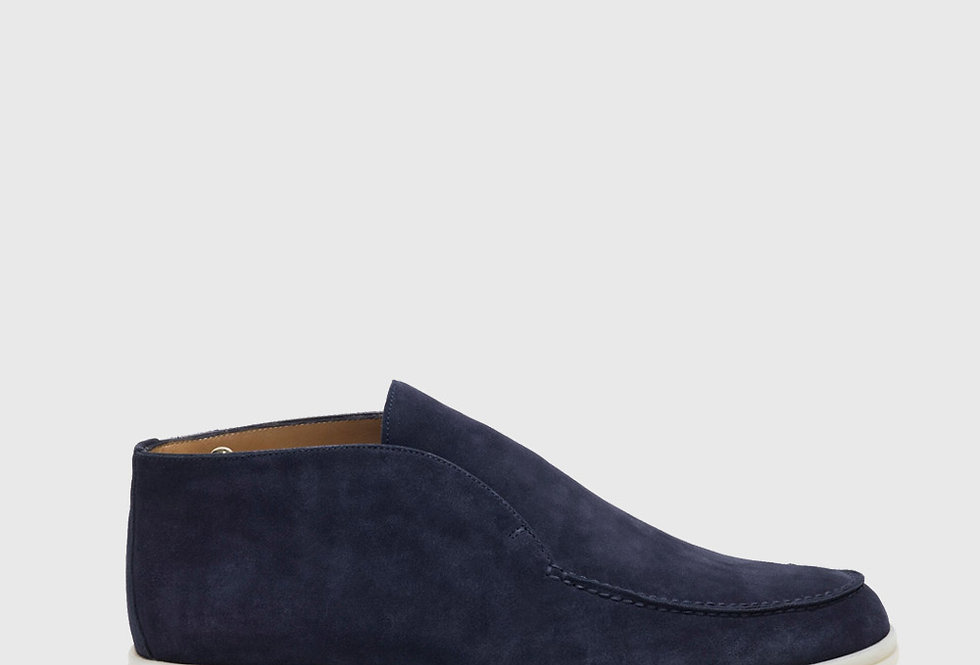 Loro Piana Open Walk Ankle Boot Suede Blue Navy