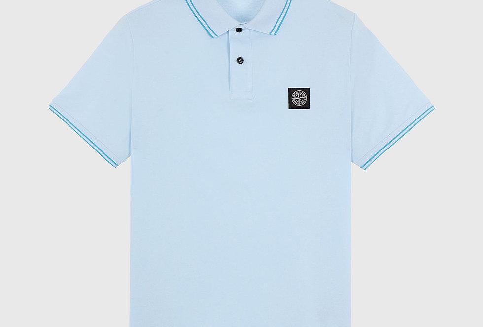 Stone Island 22S18 Stretch Pique Polo Shirt Sky Blue