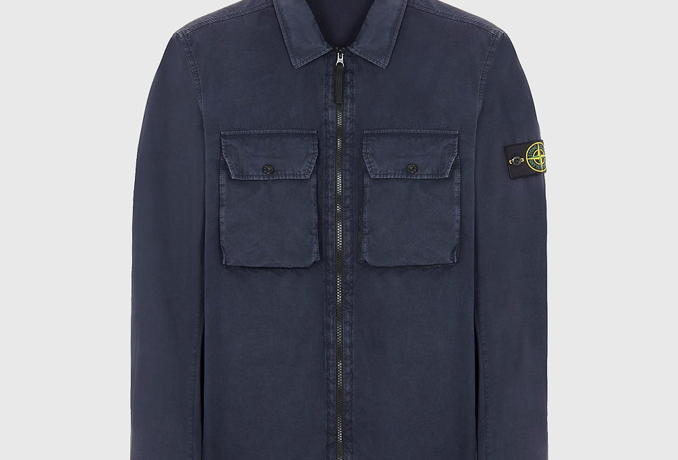 Stone Island 113WN Cotton Canvas_Old Effect Over Shirt Blue