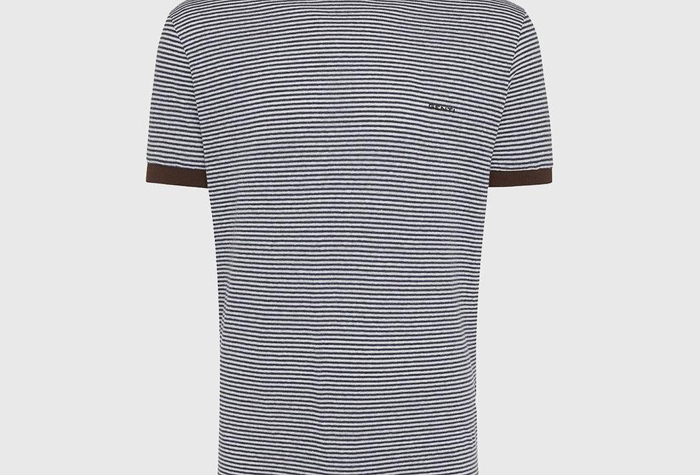 Genti Stripe T-shirt Dark Blue White