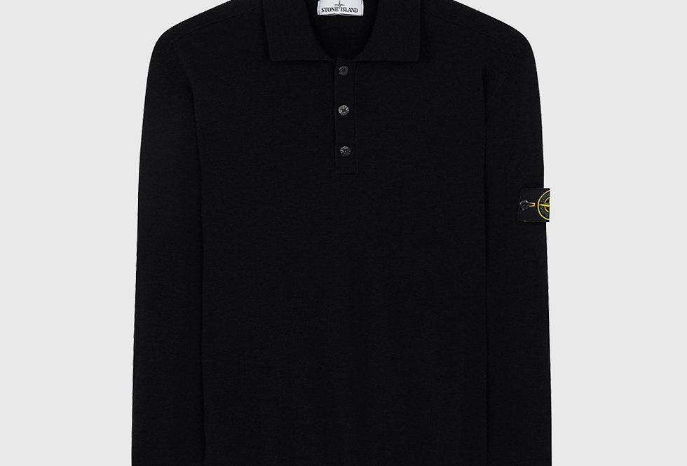 Stone Island 512A1 Wool Knitwear Polo Black