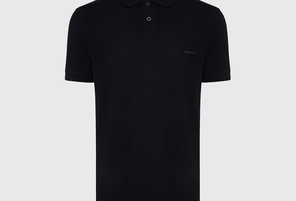 Genti Pique Polo Black