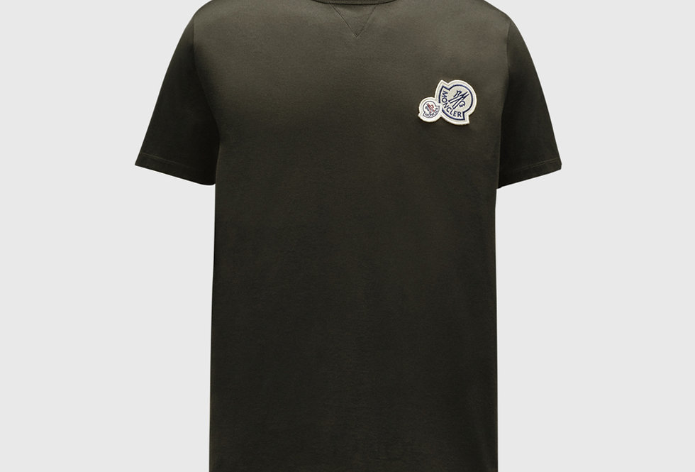 Moncler T-shirt With Logo On Chest Dark Army Green