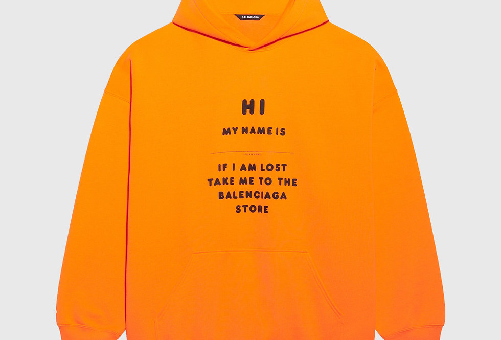 Balenciaga Hi My Name Is Boxy Hoodie Orange