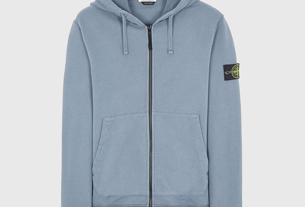 Stone Island 64220 Brushed Cotton Fleece Full Zip Sweatshirt Pastel Blue