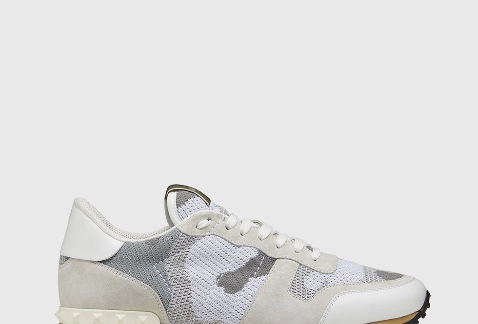 Valentino Rockrunner Mesh Fabric Camouflage Sneaker White