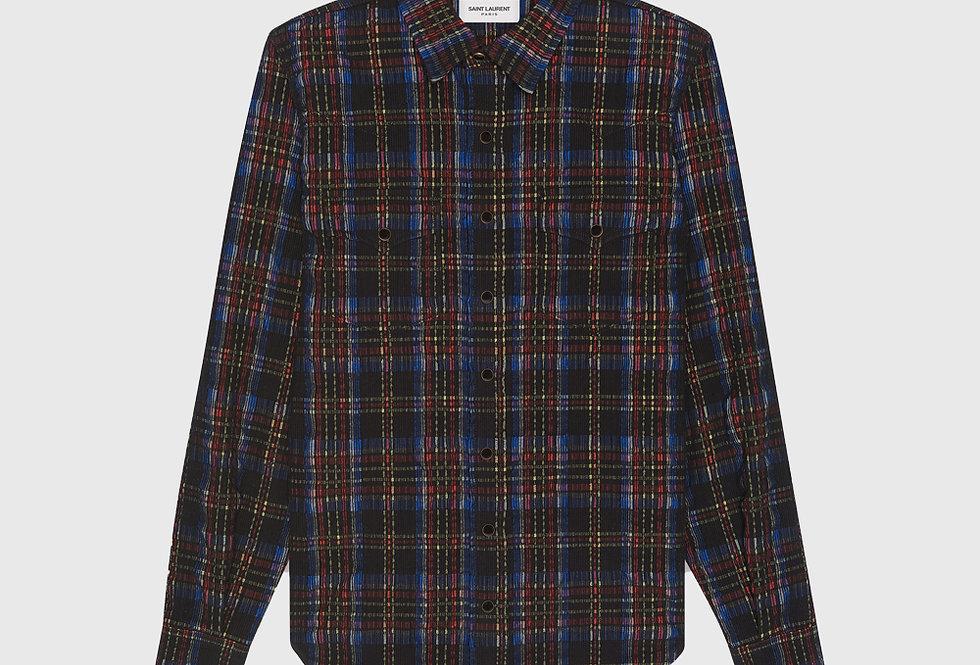 Saint Laurent Classic Western Shirt Checked Corduroy Multi