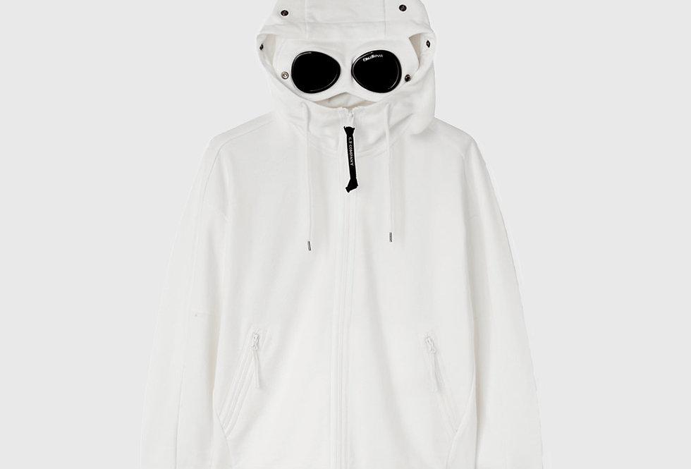 C.P. Company Diagonal Raised Fleece Goggle Hoodie White