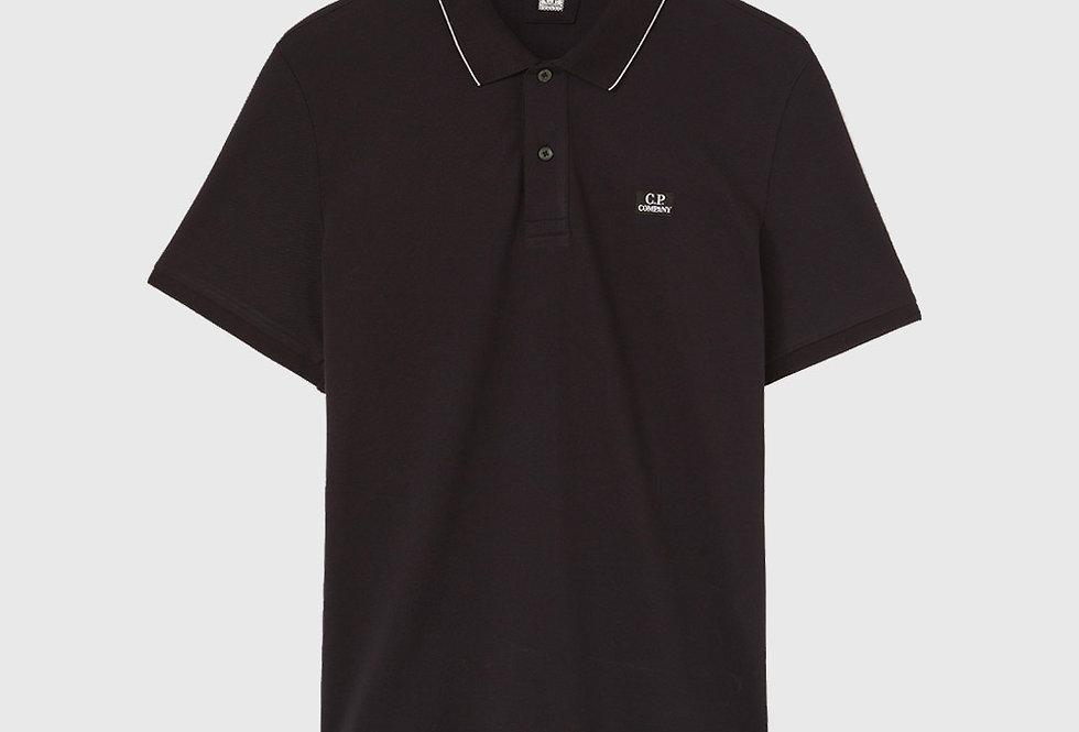 C.P. Company Stretch Piquet Logo Polo Shirt Black