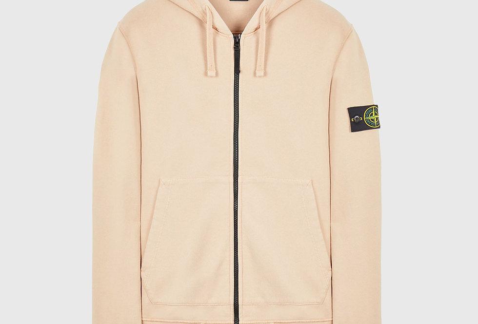 Stone Island 64220 Brushed Cotton Fleece Full Zip Sweatshirt Pastel Pink