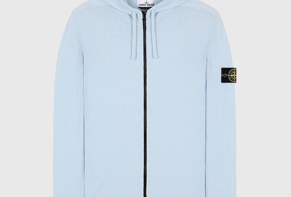 Stone Island 523B0 Hooded Cardigan Knit Sweater Sky Blue