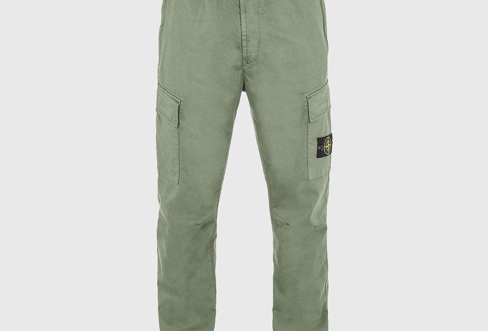 Stone Island 31314 Stretch Cotton Wool Satin Trousers Sage Green