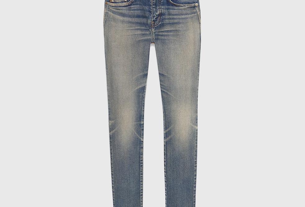 Saint Laurent Skinny Jeans Dirty Old Vintage Blue Denim
