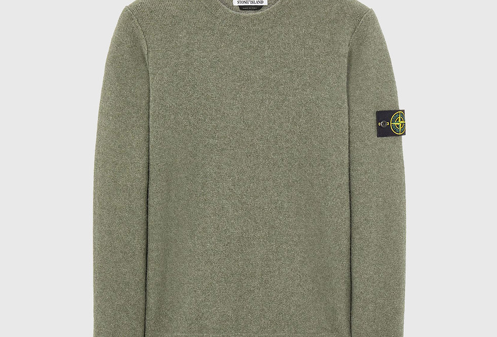 Stone Island 577B6 Geelong Wool Sweater Sage Green