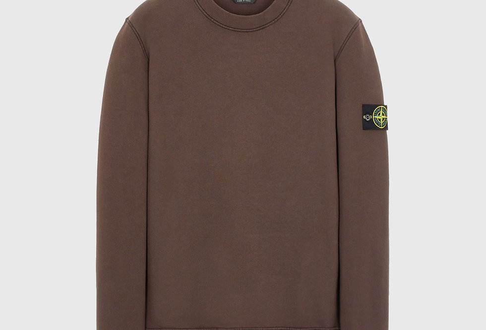 Stone Island 63020 Cotton Fleece Sweatshirt Dark Brown