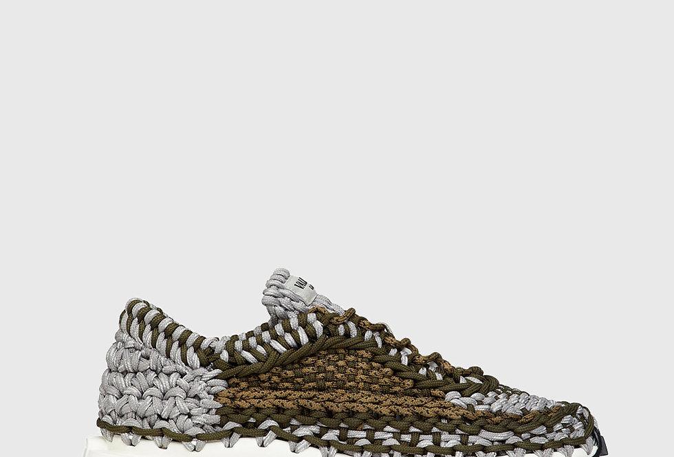 Valentino Garavani Crochet Sneaker Woven Fabric Olive Green