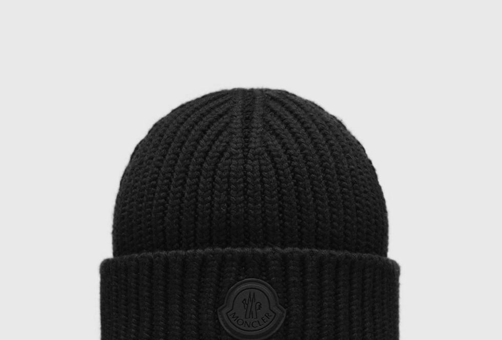 Moncler Black English Rib-Knit Beanie Black