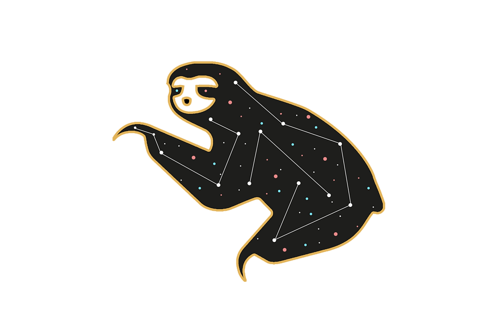 A cartoon sloth constellation with pink, blue, and white stars.