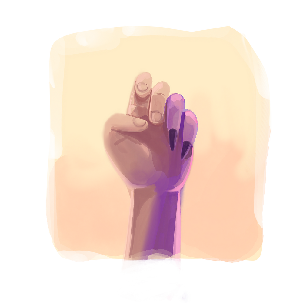 An illustration of of a hand with the last two fingers looking different, being purple and having longer nails.