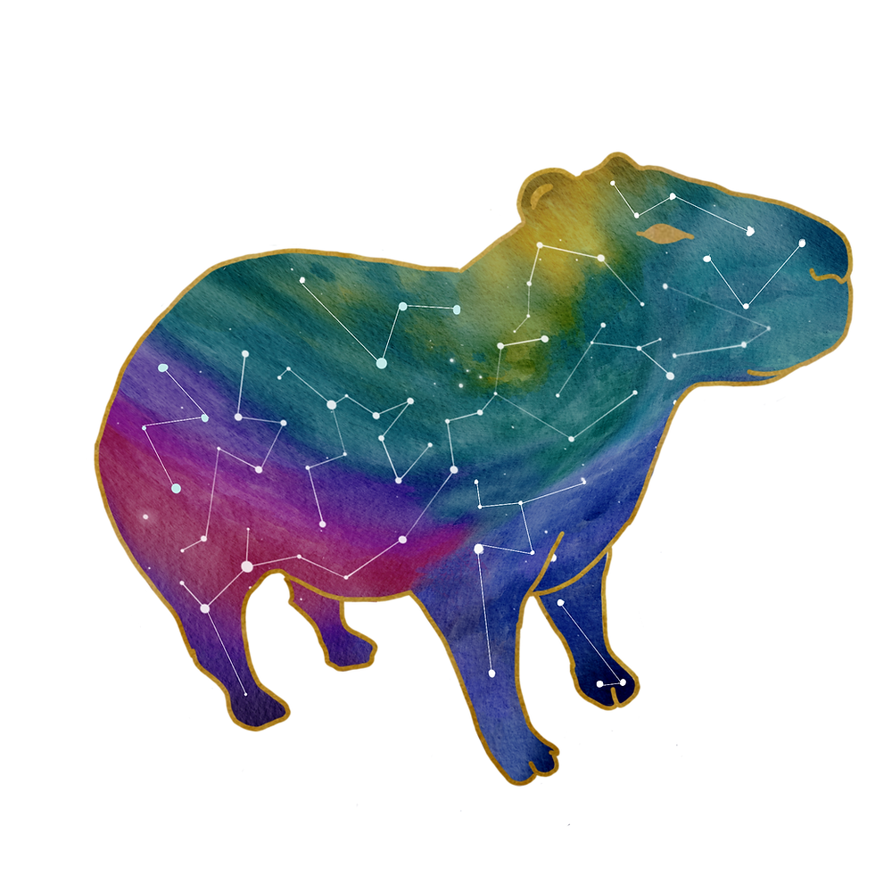 A capybara with a rainbow nebula pattern and stars within.