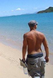 Matt on Hideaway Bay Beach, QLD, AUS, passing through....