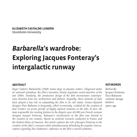 Barbarella's wardrobe: Exploring Jacques Fonteray's intergalactic runway